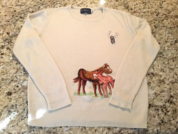 Vintage Horse Sweater, Equestrian Sweater, Horse L