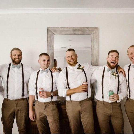 Wedding Suspenders for Men Best Man Suspenders Groomsmen Suspenders Personalized Brown Suspenders Groom Suspenders Mens Suspenders