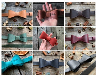 dog collar Personalized Bow-tie Custom dog collar leather bowtie ring bearer collar Wedding accessory engraving collar gift for pet lovers