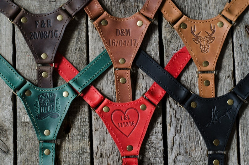 Personalized leather suspenders Monogram wedding suspenders image 0