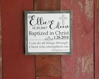 Wood sign   custom baptism sign   12in x 13in   handpainted
