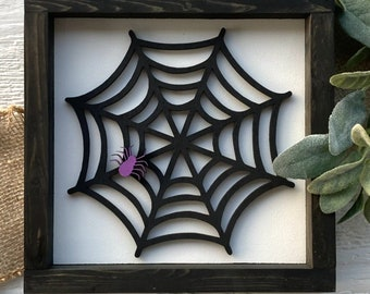 Spider web with spider wood sign   laser cut wood sign   framed sign   wood sign   Halloween sign