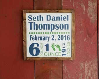 Wood sign   custom baby stats   13in x 13in   handpainted