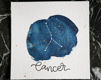 Cancer Constellation Painting - Galaxy, Night Sky, Stars, Original Watercolor