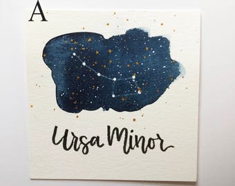Ursa Minor Constellation Painting - Galaxy, Night Sky, Stars, Original Watercolor, Astronomy, Gift for Her, Boho Art, Little Dipper