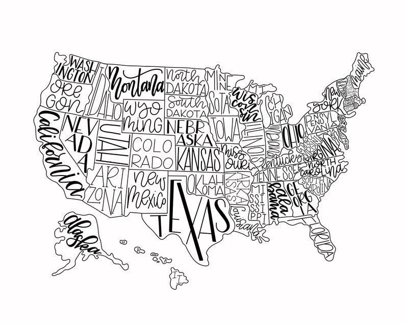 Hand Lettered Map of USA Map Print Black and White Art | Etsy