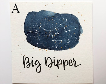 Big Dipper Constellation Painting - Galaxy, Night Sky, Stars, Original Watercolor, Astronomy, Gift for Her, Boho Art, Ursa Major, Boho Style