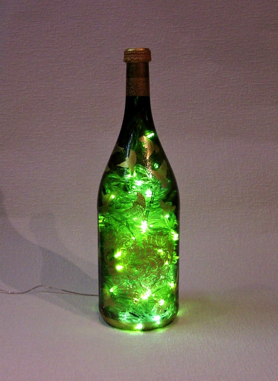 Lighted Bottle Recycled Hand Decorated 4040 Liters Wine Bottle Etsy Impressive Decorated Wine Bottles With Lights Inside