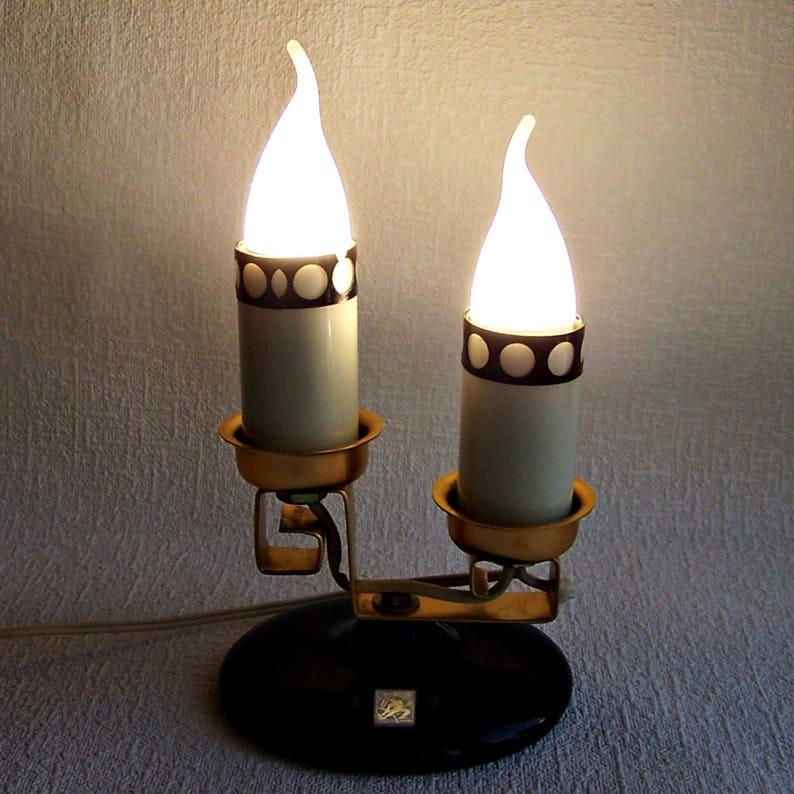 Lampe De Travail Sous Socle Vintage La D'un VerreSoviétique Un Table Sur En BougieChandelier Électrique Forme Porte kZ0XON8wnP