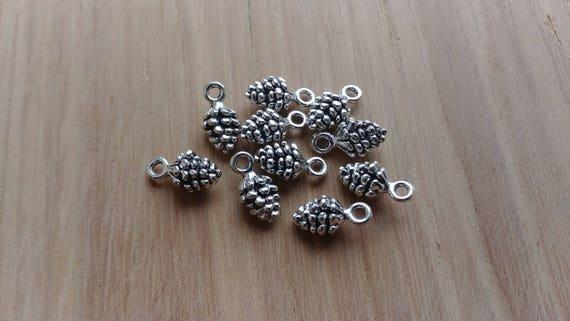 10 x Zinc alliage pomme de pin argenté breloques pour la fabrication de bijoux