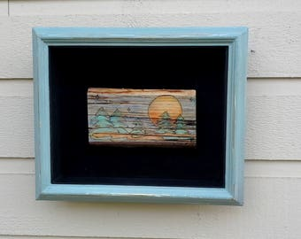 Moon and stars pyrography hanging (Art only), wood burned on a Birch slice, sunset, watercolor art, for nature lovers, frame sold separately