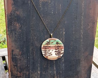 Birch and Pine trees jewelry with Bald Eagles, pyrography art Woodburned rustic pendant necklace, brass chain and clasp, nature lover