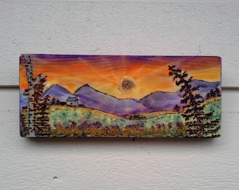 Sunrise landscape pyrography (ART ONLY) wood burned and painted on a Pine slice, Mountains, pine trees, Welsh cottage watercolor art