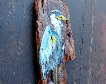 Woodburned Blue Heron on foraged driftwood, hand painted, pyrography seabird with a rare earth magnet for your cabin fridge, cabin gift idea