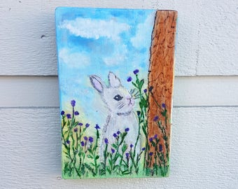 Wildflower Bunny pyrography (Art only) pine, Woodburned, Watercolors, Purple and green flowers with blue sky, childs room decor, Easter gift