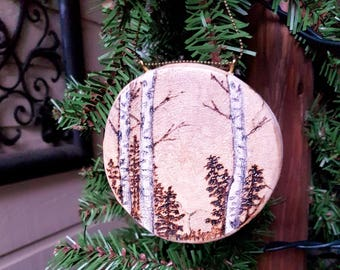 Natural view of birch, fir and pine trees, Pyrography Christmas ornament or holiday gift tag, woodburned  on a birch slice for nature lovers