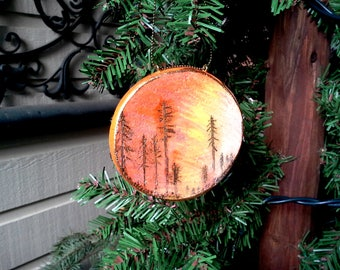 Sunset Silhouette of fir and pine trees pyrography mini art piece or gift tag/ornament, woodburned design on a birch slice, nature lover