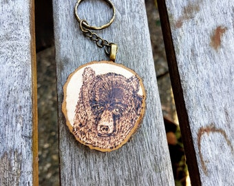 Grizzly Bear woodburned keychain,hand drawn pyrography brass key fob, nature lover, use for cabin or cottage keys, man's keychain