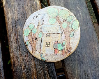 Welsh style cottage landscape Mini Pyrography Art Piece, choose hanger or magnet, tiny house, trees, birch slich,chalk pencil art, pastels