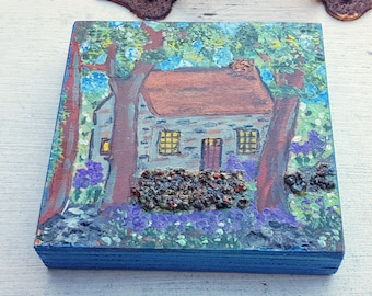 English Stone cottage landscape Mini  Pyrography Art Piece, old stone walled garden, purple flowers, leafy trees, romantic wall art decor