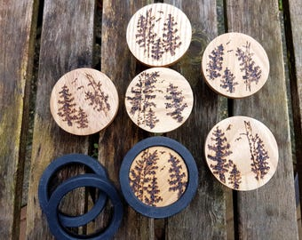 Cabinet or rack knobs, set of 6 wood burned round oak handles with Bald Eagles, Birch and Pine trees, pyrography art, rustic log cabin decor