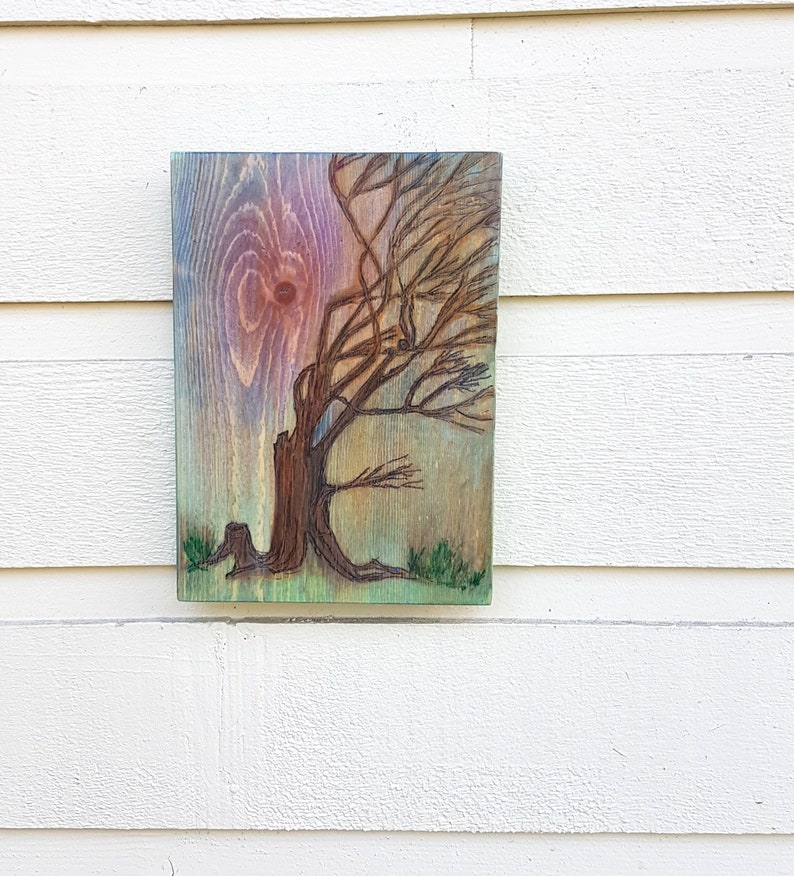 Old Oak Tree on a windy evening at sunset pyrography art wall image 0