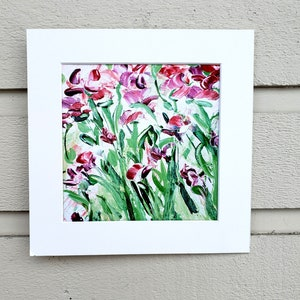 Small 5x 5 Framed /& Ready to Hang botanical art gift for nature lover Wild Sweet Peas Wildflowers Acrylic Painting Original