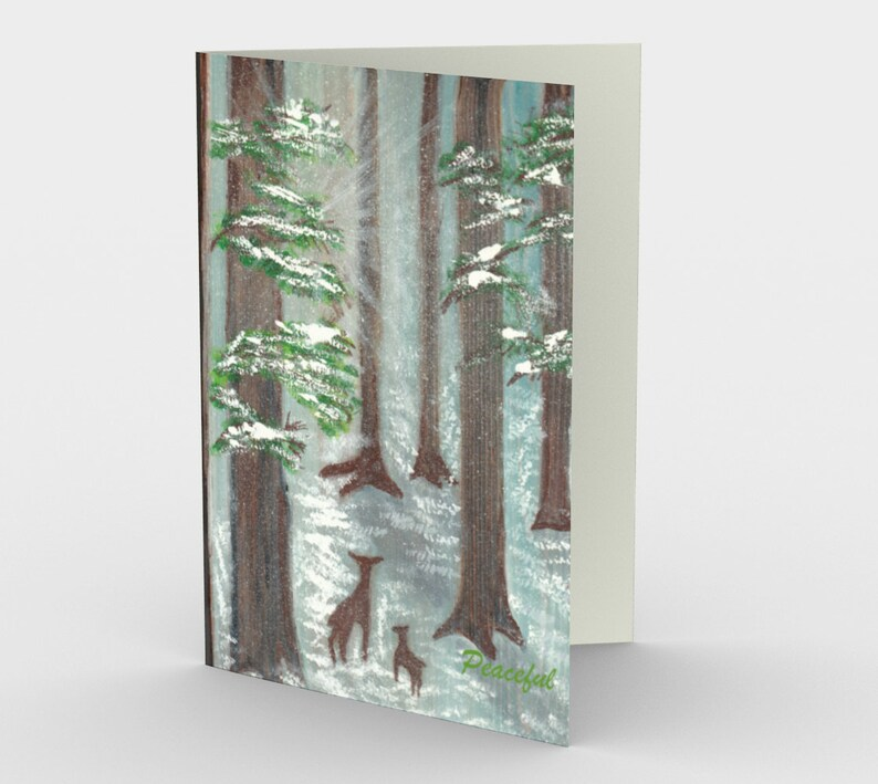 Deer in forest holiday card 1 or a set of 3 original one card