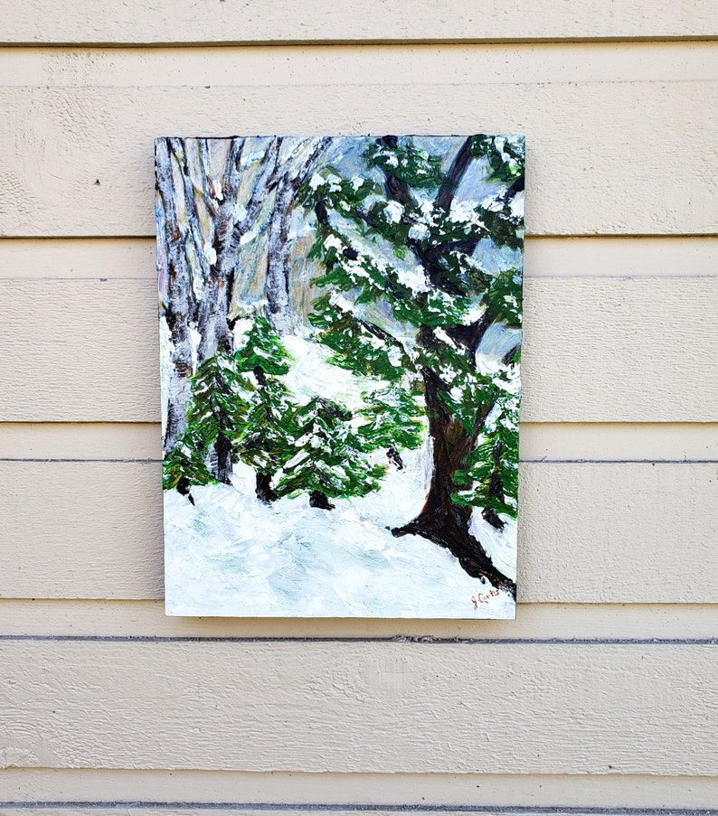 Winter Forest landscape painting acrylic on wood panel image 0