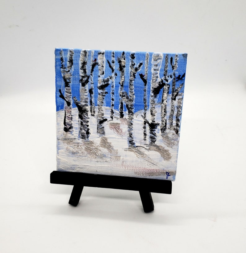 Silver Birch Tree 4 inch miniart painting snowy winter scene Art with easel