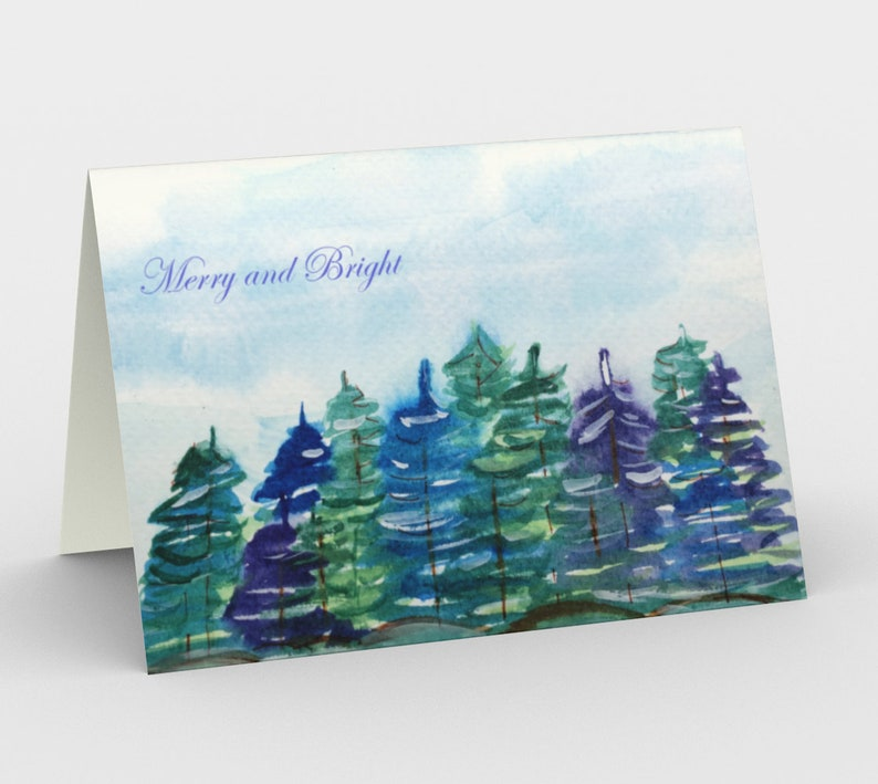 Pine trees holiday cards 1 or a Set of 3 from original image 0