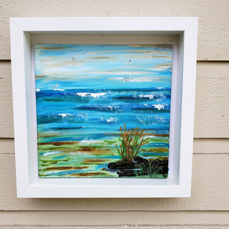 Seagull seascape acrylic art painting ART ONLY Windy blue image 0