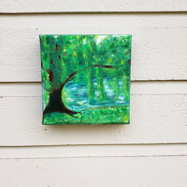 Weeping Willow Tree by the river 6 x 6 x 1.5 gallery style image 0
