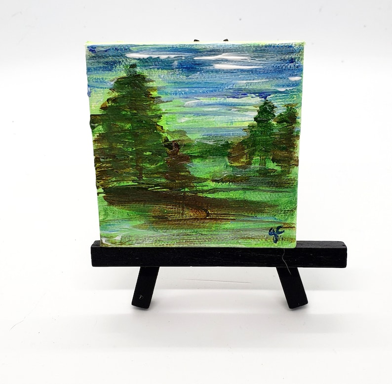 Pine Tree forest 3 inch mini art painting Pine and Fir art with easel