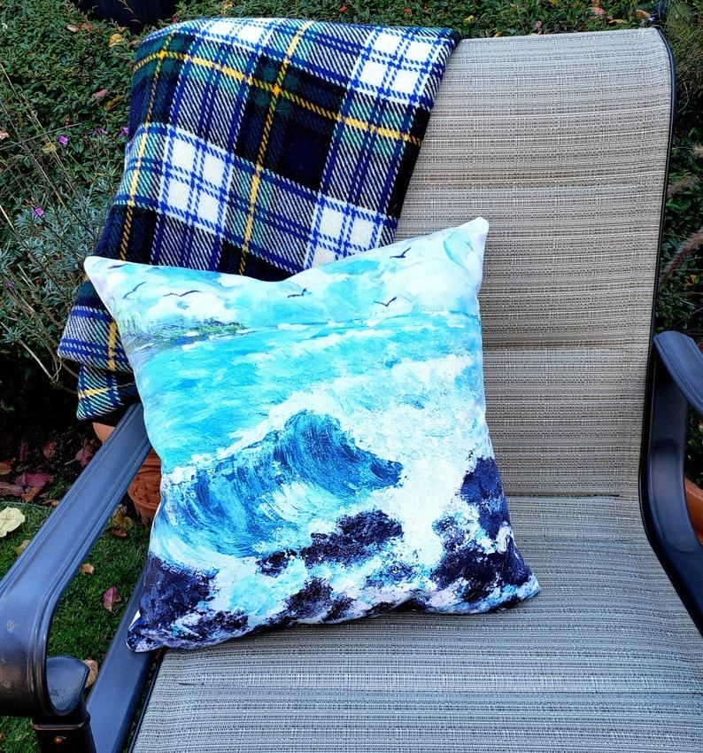 Fine Art Pillow Cover Ocean Wave original painting image 0