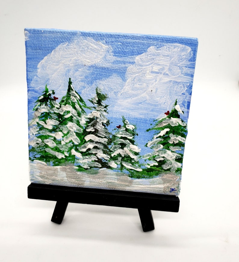 Pine Tree 4 inch MiniArt Piece small acrylic snowy winter art with easel