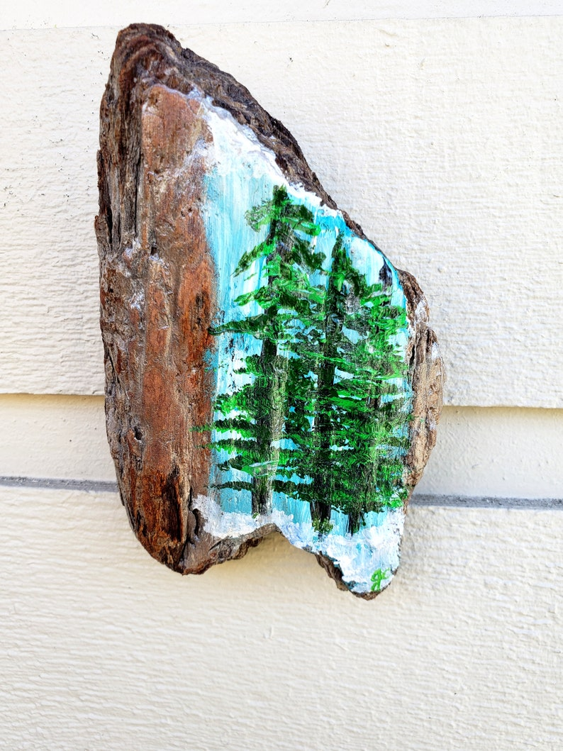 Driftwood painting of 3 pine trees acrylic art painted on a image 0
