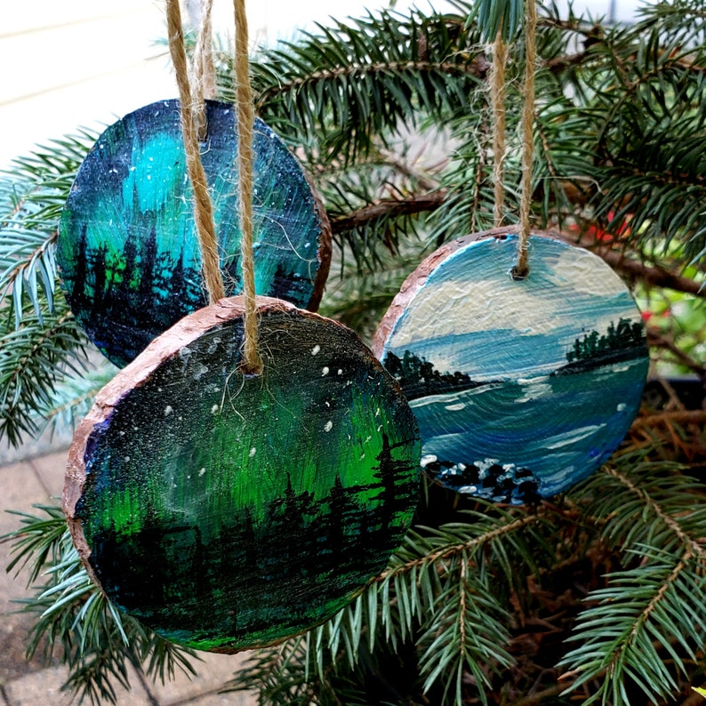 Holiday tree ornaments set of 3 handpainted on live edge image 0