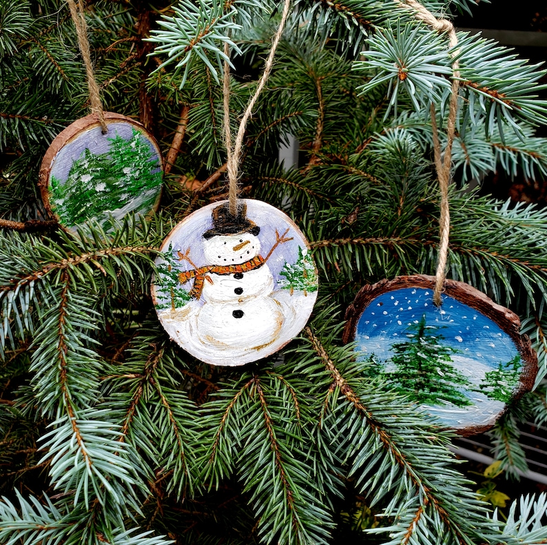 Holiday tree ornaments set of 3 handpainted on live edge Set of all 3