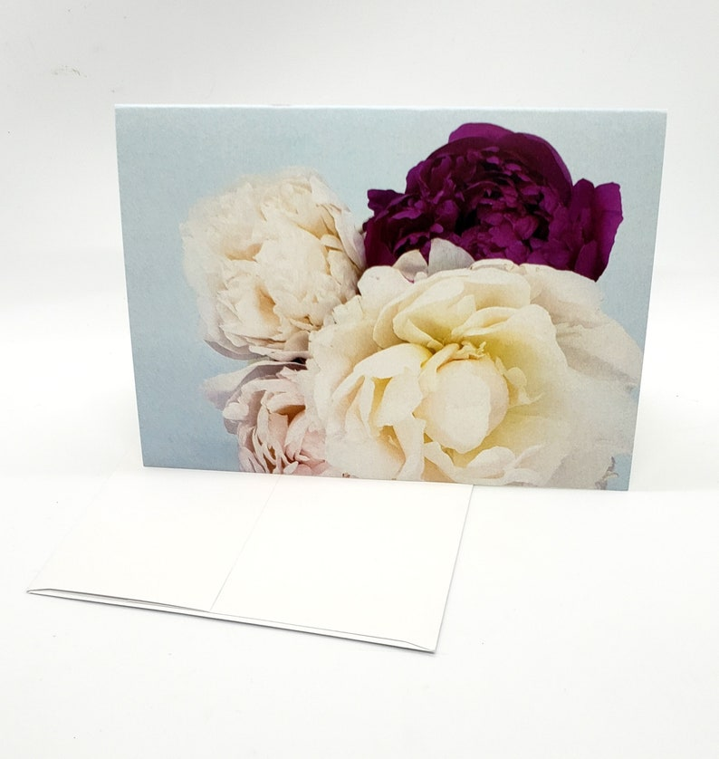 Floral Photo Art Card original photograph Peony blooms in image 0