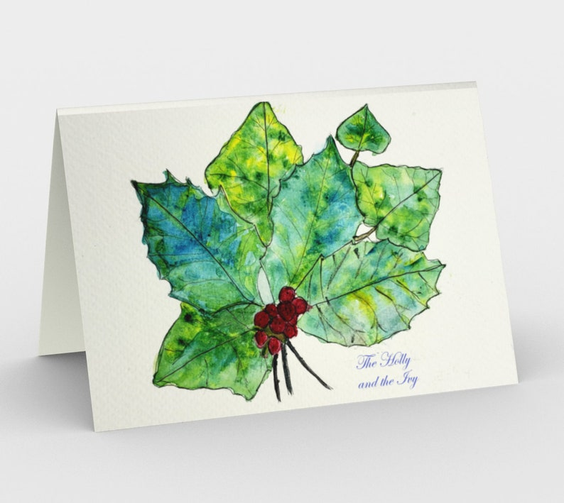 Holly and Ivy holiday cards Set of 3 from original 3 cards-order direct