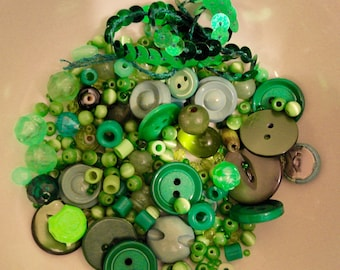 Gorgeous green assorted vintage and retro beads, buttons and sequins