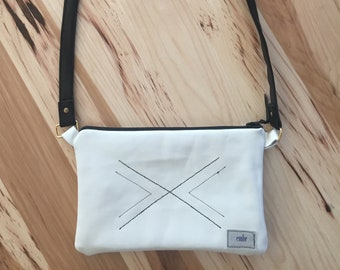 White Leather Purse, Cross Body Purse, Everyday Leather Purse