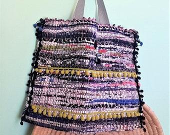 Kourelou Bag, Kilim Bag, Boho Tote, Kourelou Tote, Pom Pom Bag, Unique Gift, Ethnic Bag, Hippie Bag, Fabric Bag, Festival Wear, Bohemian Bag