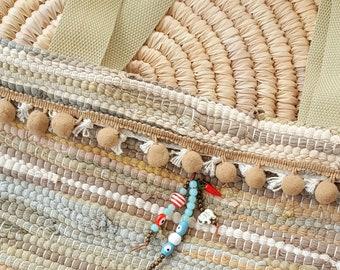 Kourelou Tote Bag, Kilim Bag, Boho Bag, Hippie Bag, Festival Bag, Bohemian Bag, Beige Kourelou Bag, Women's Gift, Summer Bag, Ethnic Bag