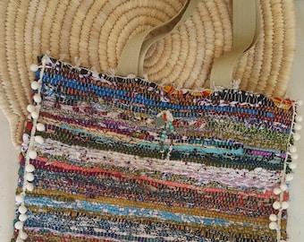 Kourelou Bag, Kilim Bag, Boho Tote, Kourelou Tote, Pom Pom Bag, Ethnic Bag, Hippie Bag, Bohemian Bag, Festival Wear, Mother's Day, Gift Idea