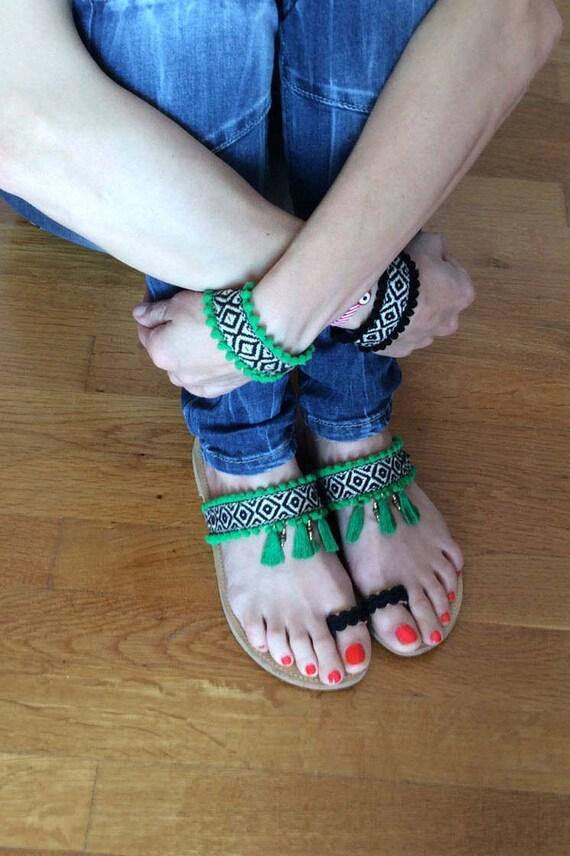 Sandals Women's Festival sandals Hippie Green Ethnic Sandals sandals Leather Boho Pom sandals sandals Greek Pom Summer chic sandals p51cqfwz
