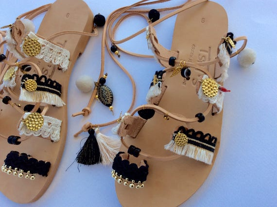 Ethnic Sandals Up Strappy Sandals Sandals Sandal Pom Sandals Sandals Greek Pom Sandals Gypsy Leather Black Gladiator Boho Tie Sandals z1Fwg