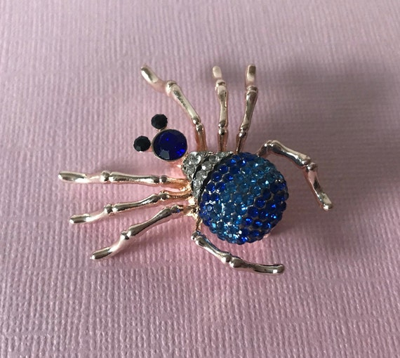 Rhinestone spider pin, spider pin, spider brooch,