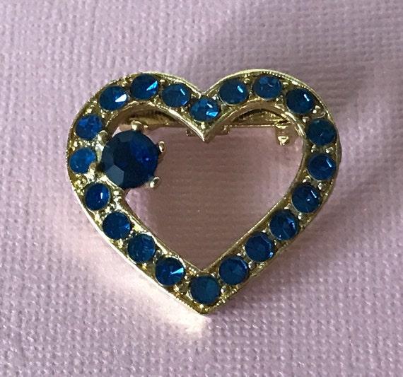 7a86eac19382d Vintage rhinestone heart pin rhinestone heart pin blue heart   Etsy